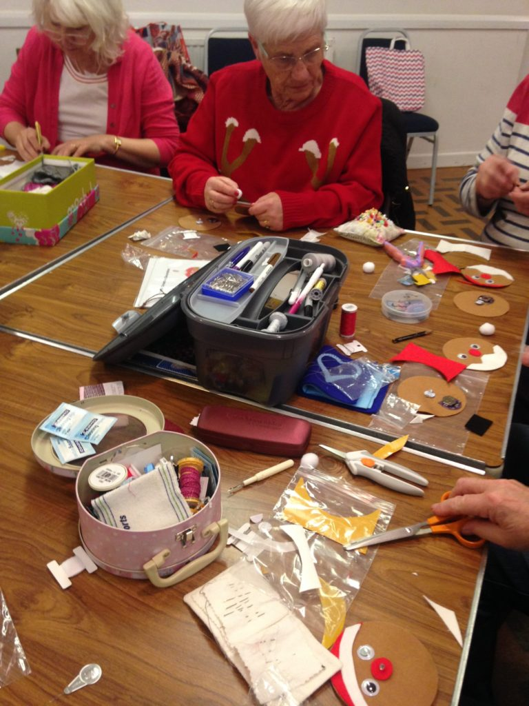 Making Father Christmas e-textile decorations with the WI