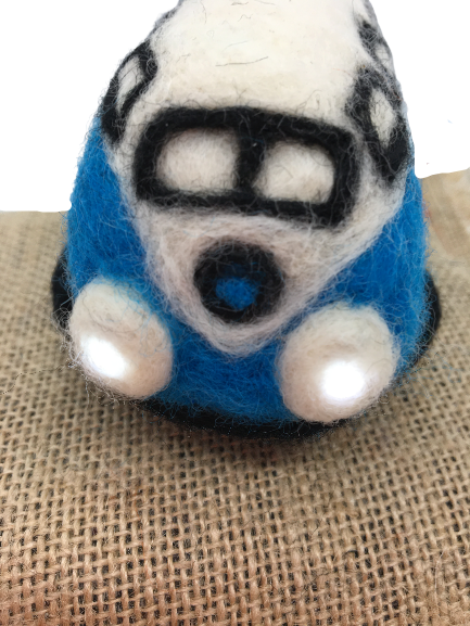 Needle felted camper van with LED's