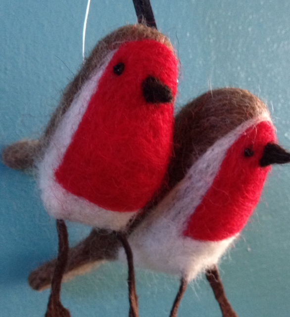 Needle felted robins